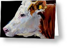 White On Brown Cow Greeting Card