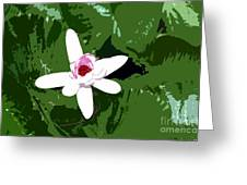 White On Green Work Number 7 Greeting Card