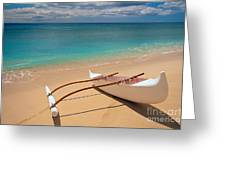 White Outrigger Canoe Greeting Card