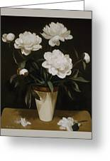 White Peonies In Cone-shaped Vase Greeting Card