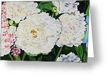 White Peony Garden Greeting Card