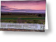 White Picket Fence Looking Over Farmland  Greeting Card