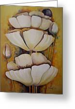 White Poppys Greeting Card