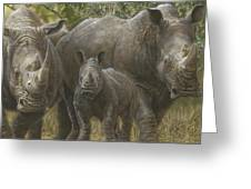 White Rhino Family - The Face That Only A Mother Could Love Greeting Card