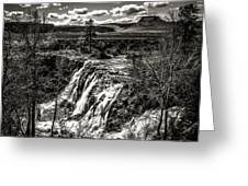 White River Falls Black  And White Greeting Card