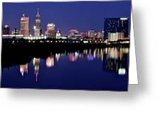 White River Reflects Indy Skyline Greeting Card
