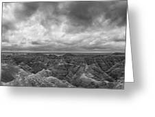 White River Valley Overlook Panorama 2 Bw Greeting Card