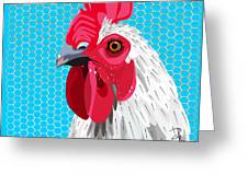 White Rooster With Blue Background Greeting Card