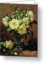 White Roses - A Gift From The Heart Greeting Card by Albert Williams