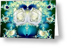 White Roses  And Blue Satin Bouquet Fractal Abstract Greeting Card