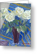 White Roses With Red And Blue Greeting Card