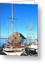 White Sail Boat Morro Rock  Greeting Card