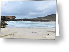 White Sand Beach And Large Rock Formations In Aruba Greeting Card