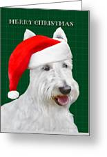 White Scottish Terrier Christmas Plaid Greeting Card