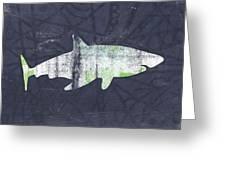 White Shark- Art By Linda Woods Greeting Card