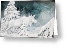 White Spirit Moose Greeting Card by Nonie Wideman