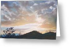 White Sunset Greeting Card