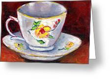White Tea Cup With Yellow Flowers Grace Venditti Montreal Art Greeting Card