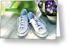 White Tennis Running Shoes Greeting Card by Sandra Cunningham