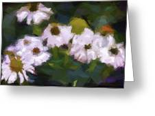 White Triangle Flowers Greeting Card