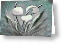 White Tropical Flowers Greeting Card