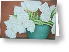 White Tulilps In Blue Vase Greeting Card