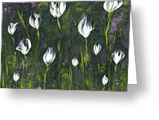 White Tulip Garden Greeting Card