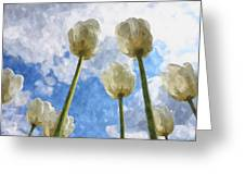 White Tulips And Cloudy Sky Digital Watercolor Greeting Card