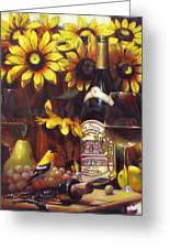 White Wine And Gold Finch With Sun Flower Greeting Card