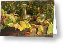 White Wine And Grape In Vineyard Greeting Card