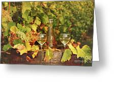 White Wine And Vineyard Autumn Season Greeting Card
