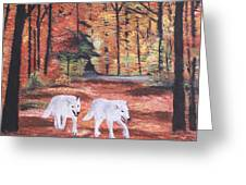 White Wolves Passing Through Greeting Card