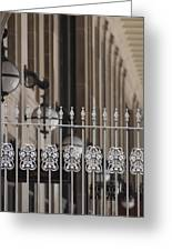 White Wrought Iron Gate In Chicago Greeting Card