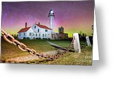 Whitefish Point Lighthouse   Northern Lights -0524 Greeting Card