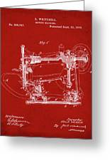 Whitehill Sewing Machine Patent 1885 Red Greeting Card