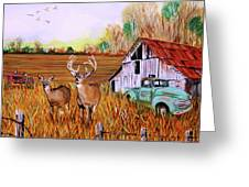 Whitetail Deer With Truck And Barn Greeting Card