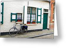 Whitewashed Brick House With Green Trimmed Shutters In Bruges Greeting Card