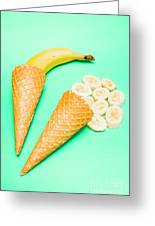 Whole Bannana And Slices Placed In Ice Cream Cone Greeting Card