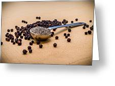 Whole Black Peppercorns With A Heaping Teaspoon Of Ground Pepper Greeting Card