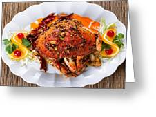 Whole Cooked Dungeness Crab With Peanut Sauce And Spices On Whit Greeting Card
