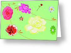 Whoosh Of Flowers Greeting Card