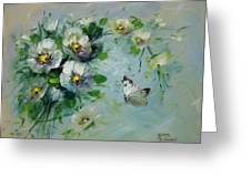 Whte Butterfly And Blossoms Greeting Card