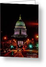 Wi State Capitol From West Washington Ave Greeting Card
