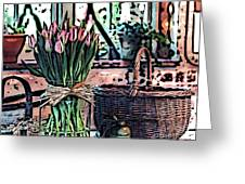 Wicker Basket And Flowers Greeting Card