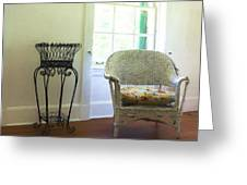 Wicker Chair And Planter Greeting Card