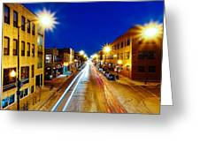 Wicker Park Light Trails Greeting Card