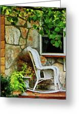 Wicker Rocking Chair On Porch Greeting Card