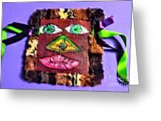 Wide Eyed Loup Garou Mardi Gras Screen Mask Greeting Card
