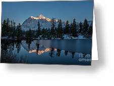 Wide Shuksans Last Light Reflected Greeting Card