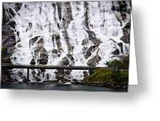 Wide Waterfal Joining The Sea Greeting Card